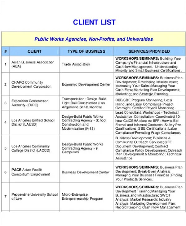 Client List Template - 9+ Free Word, PDF Format Download Free