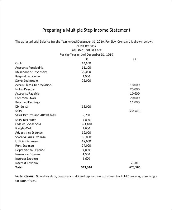 Multi Step Income Statement - 14+ Free Word, PDF, Excel Documents