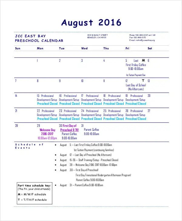 Preschool Calendar Templates - 9+ Free PDF Format Download Free - preschool calendar template