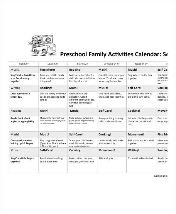 Preschool Calendar Templates - 9+ Free PDF Format Download Free