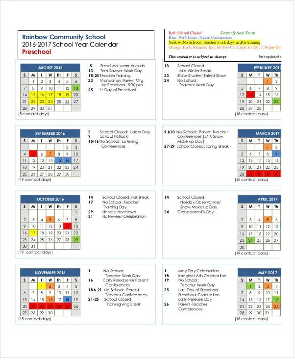 preschool yearly calendar template 1 activities calendar template