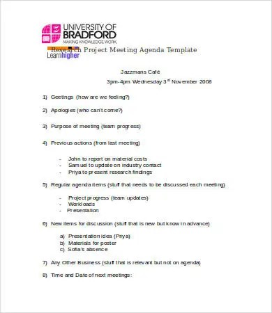 8+ Research Agenda Templates - Free Sample, Example, Format Free - sample research agenda