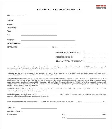 Lien Release Form - 8+ Free Word, PDF Documents Download Free - contract release form