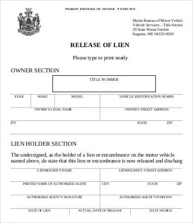 Lien Release Form - 8+ Free Word, PDF Documents Download Free