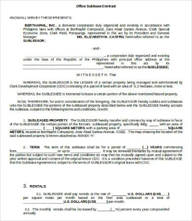 Sublease Contract Template - 9+ Word, PDF, Google Docs Documents