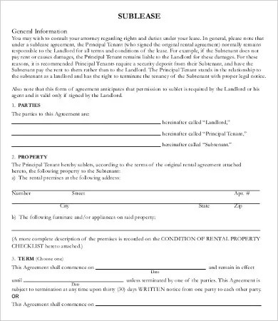 Sublease Contract Template - 9+ Free Word, PDF Documents Download