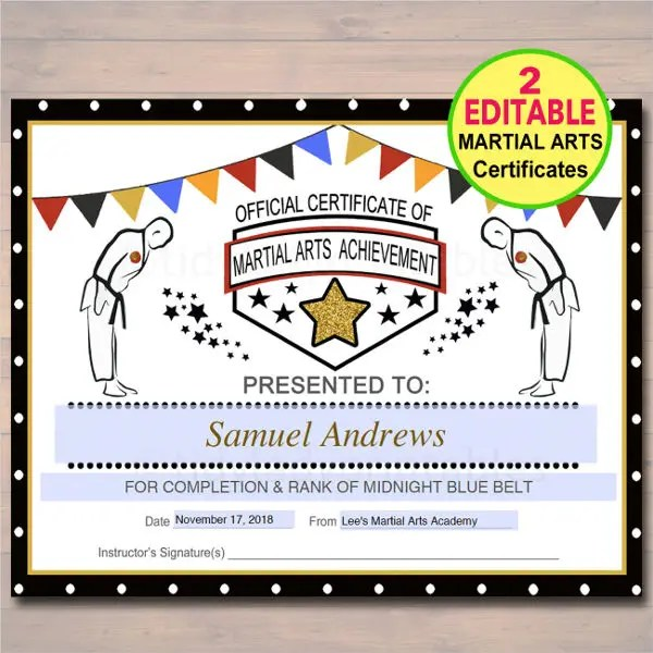 Martial Arts Certificate Templates and Awards - mandegarinfo