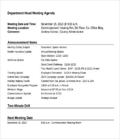 Department Meeting Agenda Template - 9+ Free Word, PDF Documents