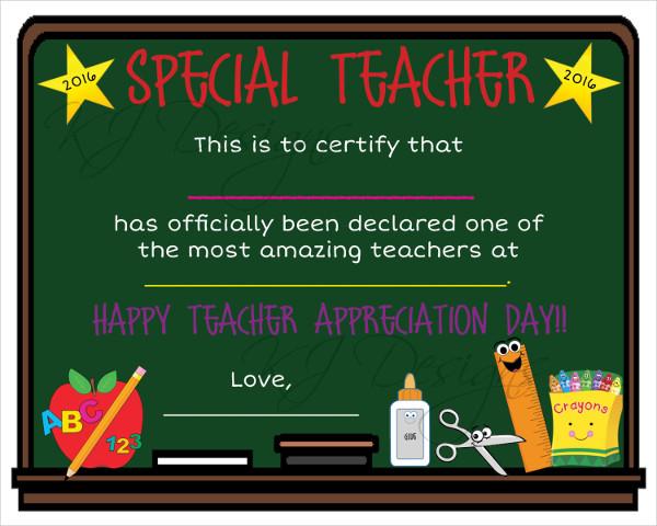 best teacher award template