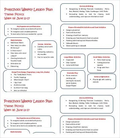 Weekly Lesson Plan Template - 9+ Free Word, PDF Documents Download - preschool lesson plan template