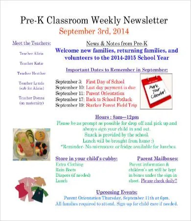 Classroom Newsletter Template - 9+ Free Word, PDF Documents Download - weekly newsletter template
