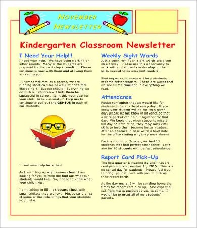 Classroom Newsletter Template - 9+ Free Word, PDF Documents Download - kindergarten newsletter template