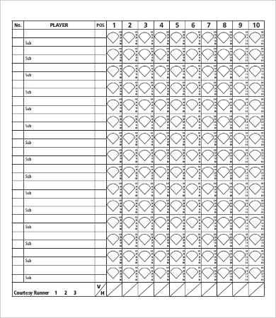 12+ Softball Score Sheet Templates - PDF, DOC Free  Premium Templates