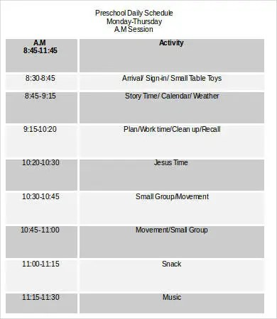 Daily Schedule Template Word - 9+ Free Sample, Example, Format