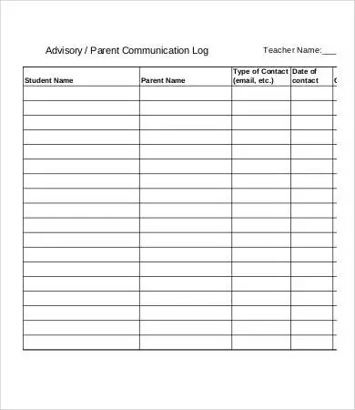Parent Contact Log - 8+ Free Word, PDF Documents Download Free - contact log template