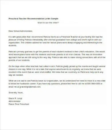 Letter Of Recommendation For Teacher - 8+Free Word Documents - letters of recommendation from a teacher