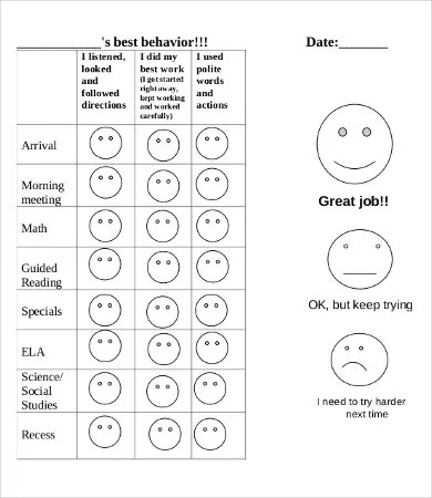 Free Printable Behavior Chart - 8+ Free PDF Documents Download