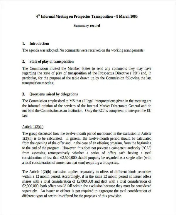 Meeting Summary Template Template - Minutes Of Meeting - Contract - contract summary template