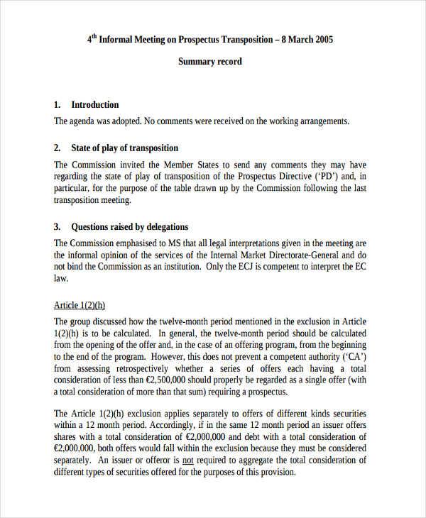 6+ Informal Meeting Minutes Template Free \ Premium Templates - meeting summary template