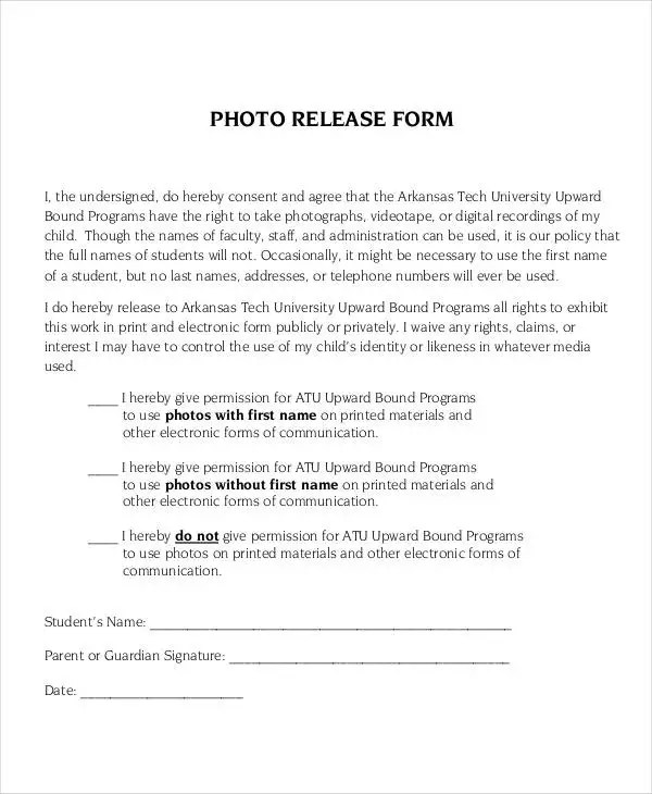 Photo Release Form Template - 9+ Free PDF Documents Download Free - Release Forms