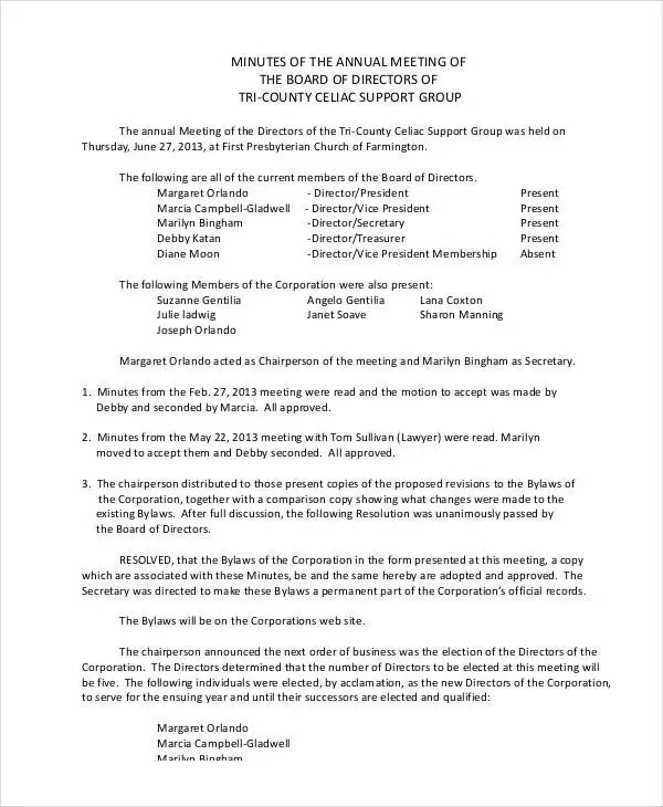 Annual Meeting Minutes Template - 10+ PDF, Word, Google Docs