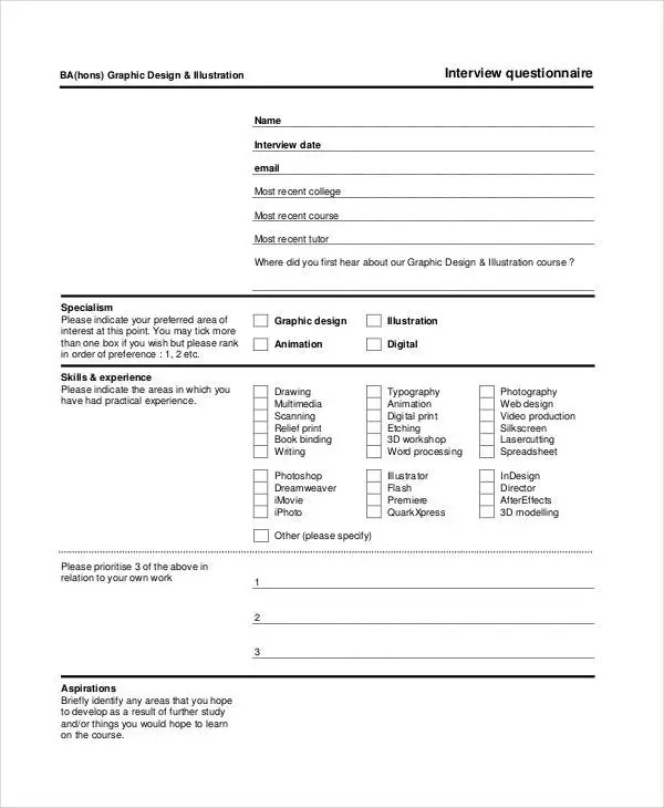 Nice ... Questionnaire Template   9+ Free Word, PDF Documents Download   Interview  Question Template ...
