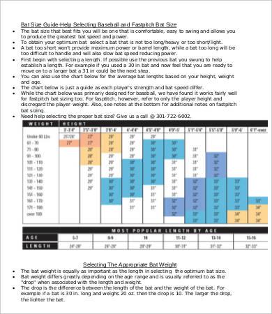Bat Size Charts - 9+ Free Word, PDF Documents Download Free