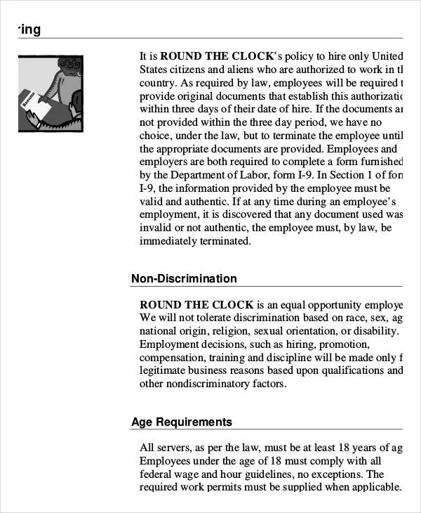 Employee Handbook Sample - 9+ Free PDF Documents Download Free - sample employee manual template
