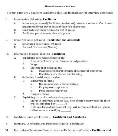 Interview Agenda Template - 8+ Free Word, PDF Documents Download - interview summary template