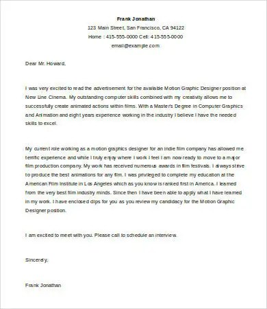 Graphic Designer Cover Letter Template - 5+ Free Word, Documents - application cover letters