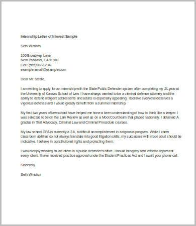 Letter Of Interest Format - 7+ Free Word, PDF Documents Download - intern letter of interest