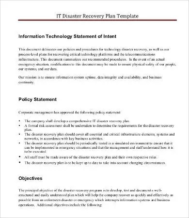 IT Disaster Recovery Plan Template - 8+ Free Word, PDF Documents - disaster recovery plan template
