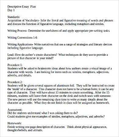Descriptive Essay Template - 8+ Free Word, PDF Documents Download