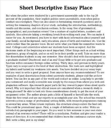 Descriptive paragraph about a place sample \u2013 Papers Professors