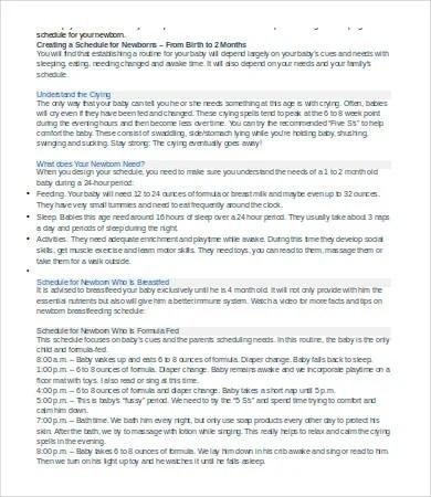 Newborn Schedule - 7+ Free Word, Excel, PDF Documents Download - newborn baby schedule