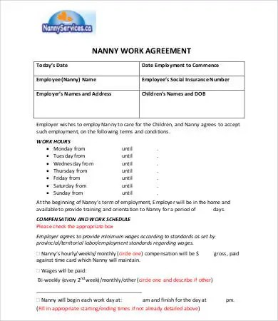 Nanny Contract Template - 7+ Free PDF Docume Free  Premium Templates - nanny agreement contract