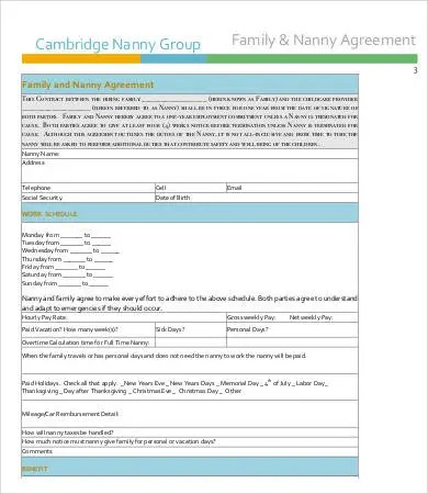 Nanny Contract Template - 7+ Free PDF Docume Free  Premium Templates