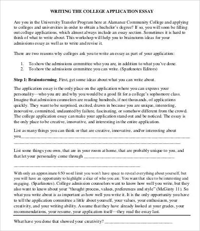 College Essay Template - 7+ Free Word, PDF Documents Download - college application essay