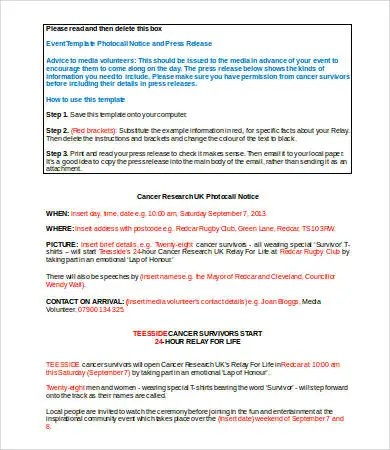 Press Release Template Word - 5+ Free Word Documents Download Free - press release template