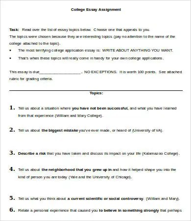 College Essay Template - 7+ Free Word, PDF Documents Download Free - college essay