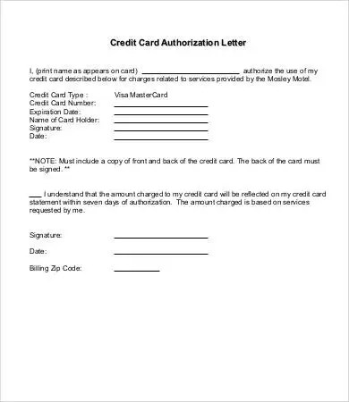 10+ Authorization Letter Samples - Free Sample, Example, Format - authorization to use credit card