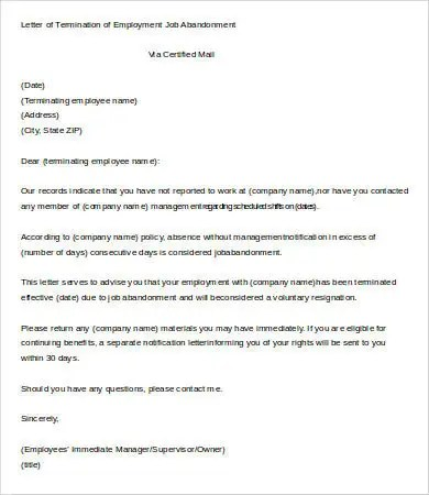 Letter of Termination of Employment Template - 6+ Free Word, PDF