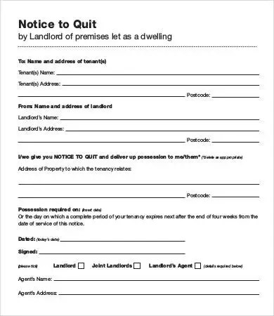 8+ Sample Notice to Quit Templates - PDF, Google Docs, MS Word
