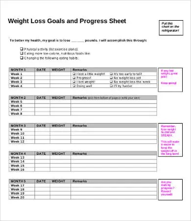8+Weekly Weight Loss Chart Template Free  Premium Templates