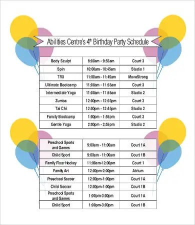 Birthday Itinerary Template a birthday party program template - birthday itinerary template