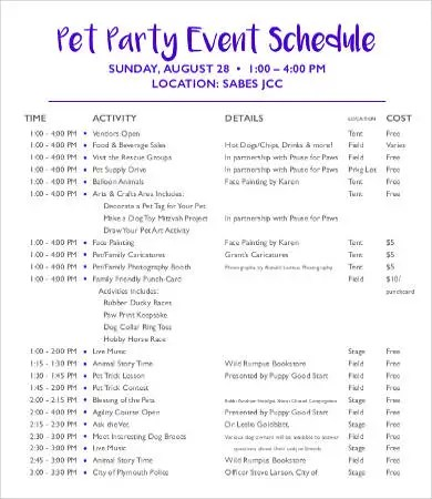 party schedule template - Onwebioinnovate - event schedule template