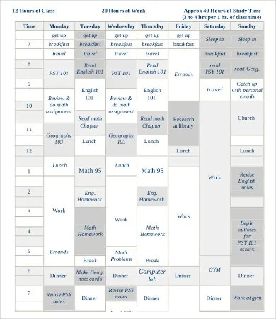 Student Schedule Template - 11+ Free PDF Documents Download Free