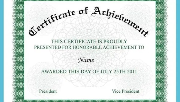 Certificate Of Achievement - 15+ PDF, PSD, AI, Word, InDesign Format