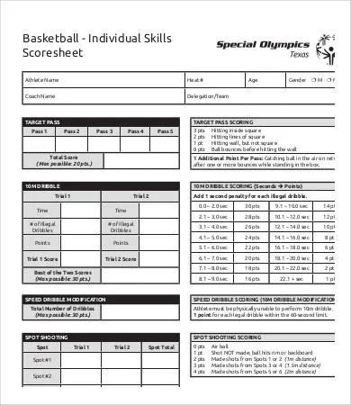 Basketball Score Sheet - 10+ Free PDF Documents Download Free