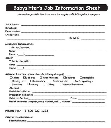 Babysitter Information Sheet Template - 7+ Free Word, PDF Documents